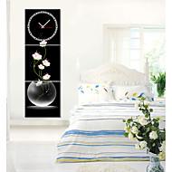 billige Veggklokker-moderne stil rosa floral veggur i canvas 3pcs