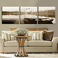 캔버스 3PCS 현대적인 스타일의 회색 벽 시계