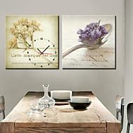 estilo moderno colher relógio de parede em tela 2pcs