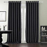 Rod Pocket Grommet Top Tab Top Double Pleated Two Panels Curtain Modern , Solid Bedroom 100% Polyester Polyester Material Curtains Drapes