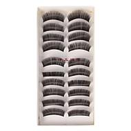 10 Pairs Black False Eyelashes Lengthening Thicker Fiber Natural Looking Curved Lashes Big Eye