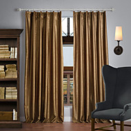 Rod Pocket Grommet Top Tab Top Double Pleat Two Panels Curtain Neoclassical , Embossed Solid 100% Polyester Polyester Material Blackout