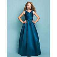 cheap -A-Line / Princess V Neck Floor Length Satin Junior Bridesmaid Dress with Sash / Ribbon / Criss Cross by LAN TING BRIDE® / Spring / Summer / Fall / Apple / Hourglass