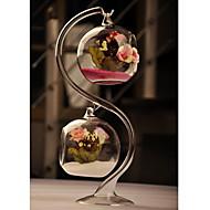 お買い得  パーティープレゼント-二つのハンギングボールでクリアガラスの花瓶