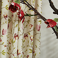 Rod Pocket Grommet Top Tab Top Double Pleat Two Panels Curtain Country , Print Poly / Cotton Blend Material Curtains Drapes Home