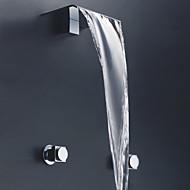 Contemporary Wall Mounted Ceramic Valve Three Holes Two Handles Three Holes for  Chrome , Bathtub Faucet