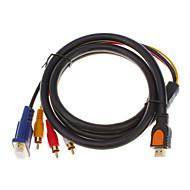 HDMI V1.3 Male naar 3 RCA + VGA Male HD15 Video Audio AV Component kabel (1.5M)