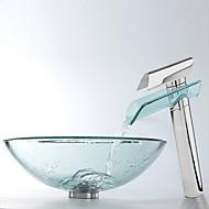 hesapli Musluk Dahil-Banyo Lavabo Takımı, Şeffaf Temperli Cam Banyo Lavabo ve Krom Banyo Bataryası