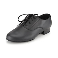"Men's Kids' Modern Ballroom Leather Oxford Lace-up Low Heel Black Under 1"" Non Customizable"