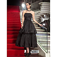 cheap Celebrity Dresses 2016-A-Line Strapless Tea Length Taffeta Formal Evening / Military Ball Dress with Draping by TS Couture®