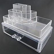אחסון איפור Cosmetic Box / אחסון איפור פלסטיק / אקרילי אחיד Quadrate 18.5 x 11.5 x 11.6 Bisque