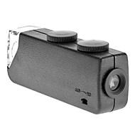 Mini 60X~100X Adjustable Zoom LED Lighted Pocket Magnifier Microscope Loupe