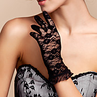 cheap Party Gloves-Lace Polyester Wrist Length Glove Classical Bridal Gloves With Solid