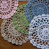 12のセット、かぎ針編みのドイリーコースター、5色利用可能な