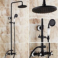 Antique Tub And Shower Rain Shower Handshower Included Ceramic Valve Three Holes Two Handles Three Holes Oil-rubbed Bronze , Shower Faucet