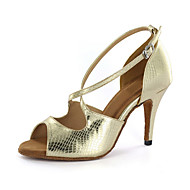 Ženske Latinski plesovi Standardni Umjetna koža Sandale Kopča za remen Kockasta potpetica Šampanjac Smeđa Zlatna Moguće personalizirati