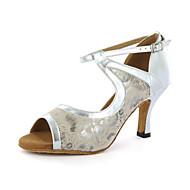billige Sko til latindans-Kan spesialtilpasses-Dame-Dansesko-Latinamerikansk-Kunstlær-Tykk hæl-Svart Blå Hvitt Sølv