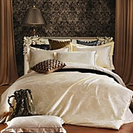 Bettbezug-Sets Blumen Seide/Baumwolle Seide/Baumwolle 4-teilig (1 Bettbezug, 1 Bettlaken, 2 Kissenbezüge)