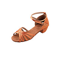 "Women's Kids' Latin Ballroom Satin Sandal Low Heel Bronze 1"" - 1 3/4"" Non Customizable"