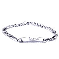 cheap Customized Apparel Accessories-Personalized Gift Stainless Steel  Jewelry Engraved ID Bracelets 0.7cm Width