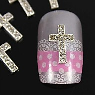 10pcs   DIY Silver Rhinestone Crossing Finger Tips Accessories Nail Art Decoration