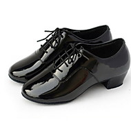 "Men's Latin Ballroom Leatherette Oxford Lace-up Low Heel Black 1"" - 1 3/4"" Non Customizable"