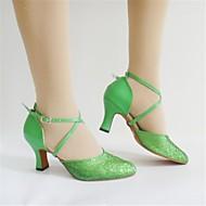 """billige Moderne sko-Dame Moderne Paljett Høye hæler Paljett Tykk hæl Grønn 2 """"- 2 3/4"""" Kan ikke spesialtilpasses"""