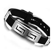 Pánské ID náramek Silikon Titanová ocel Přizpůsobeno Jedinečný design Náramky Šperky Černá Pro Denní Ležérní