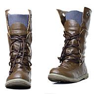 Χαμηλού Κόστους New Styles For Women-Γυναικεία Παπούτσια Δερματίνη Φθινόπωρο / Χειμώνας Επίπεδο Τακούνι 20.32-25.4 cm / Μπότες στη Μέση της Γάμπας Κορδόνια Μαύρο / Κίτρινο / Πράσινο