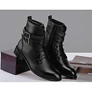 Men's Boots Spring Summer Fall Winter Comfort Leather Fur Casual Low Heel Lace-up Black