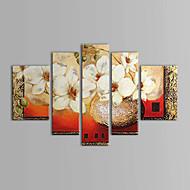 billiga Blom-/växtmålningar-HANDMÅLAD Blommig/Botanisk vilken form som helst Duk Hang målad oljemålning Hem-dekoration Fem paneler