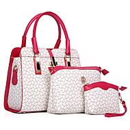 女性 バッグ オールシーズン PU ショルダーバッグ トート バッグセット 3個の財布セット のために ショッピング カジュアル フォーマル ベージュ ブルー ピンク