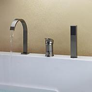 Moderne Badekar & Bruser Vandfald Håndbruser inkluderet Keramik Ventil Tre Huller Enkelt håndtag tre huller Nikkel Børstet , Badekarshaner