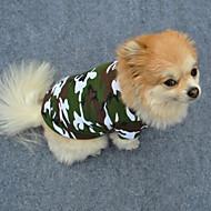 Hund T-shirt Hundetøj camouflage Grøn Bomuld Kostume For kæledyr Herre Dame Mode