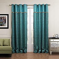 Rod Pocket Grommet Top Tab Top Double Pleat Two Panels Curtain Modern , Jacquard Stripe Living Room Poly / Cotton Blend Material Curtains