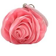 baratos Clutches & Bolsas de Noite-Mulheres Bolsas Seda Bolsa de Festa Flor Preto Cinzento / Rosa claro / Ivory