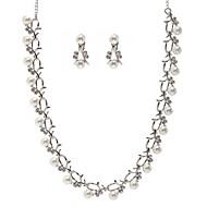 Takı Seti Kadın's Yıldönümü / Düğün Mücevher Setleri alaşım İmitasyon İnci / Yapay Elmas Kolyeler / Kolczyki Gümüş