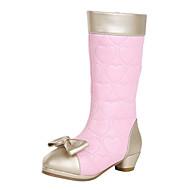 baratos Sapatos de Menina-Para Meninas Sapatos Courino Primavera Conforto Ziper para Preto / Branco / Rosa / Botas Cano Alto