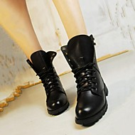 cheap -Women's Shoes Leatherette Fall / Winter Combat Boots Low Heel 15.24-20.32 cm / Mid-Calf Boots Lace-up Black
