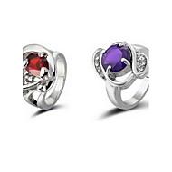 prachtige strass ring legering verzilverd-set van 2 (willekeurige kleur)