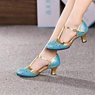 """billige Moderne sko-Dame Moderne Lær Høye hæler Spenne Kubansk hæl Sølv Gull Fuksia Lyseblå 2 """"- 2 3/4"""" Kan ikke spesialtilpasses"""