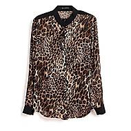 Kvinder Leopard Trykt Casual Button Down Chiffon Skjorte