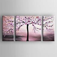 baratos -Pintados à mão Floral/Botânico Panorâmico horizontal Tela de pintura Pintura a Óleo Decoração para casa 3 Painéis