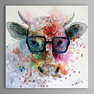Hand-Painted Abstract Animal Square,Classic Modern One Panel Oil Painting For Home Decoration