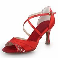 Dame Latin Sateng Sandaler Krystall Spenne Utsvingende hæl Svart Rød Sølv Brun 7,5 cm Kan ikke spesialtilpasses