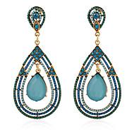 Mulheres Brincos Compridos Cristal Diamante sintético Pedras preciosas sintéticas Cristal Imitação de Pérola Ágata Resina Strass Liga
