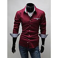Homens Camisa Social Chique & Moderno Sólido