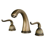 Antique Widespread Widespread Ceramic Valve Three Holes Two Handles Three Holes Antique Brass , Bathroom Sink Faucet