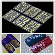 preiswerte -6pcs 3D-goldenen Blume Nail Art Aufkleber