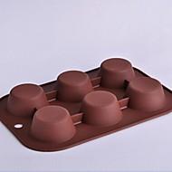 6 buracos moldes forma circular bolo, silicone 26,5 × 18 × 3 cm (10,4 × 7,1 × 1,2 polegadas)